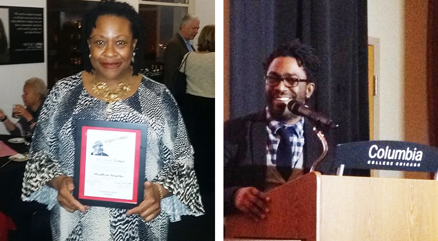2015 Studs Terkel Award winners Maudelyne Ihejirika, Sun-Times Asst. City Editor and DNA Info reporter Darryl Holliday