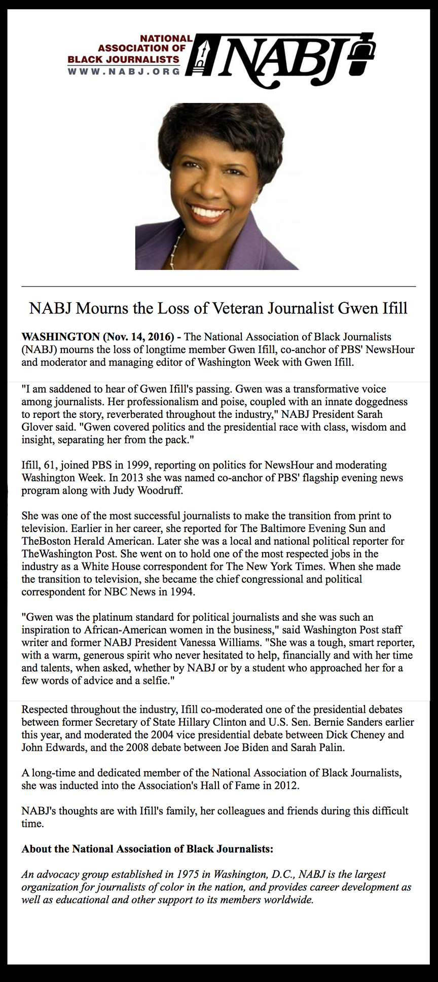 NABJ Mourns Gwen Ifill