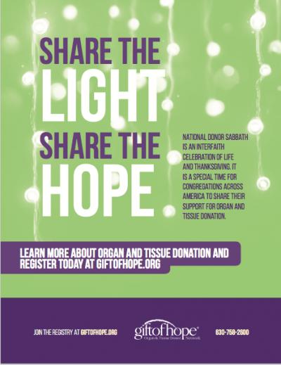Gift of Hope Donor Sabbath Promo